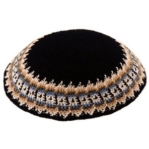 Knitted Kippa Black with Beige
