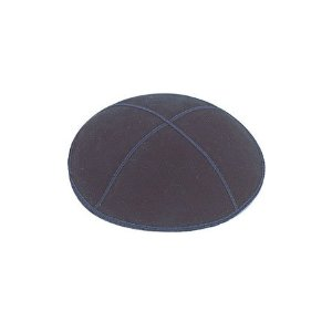 Navy Suede Leather Four Panel Yarmulka Kippah